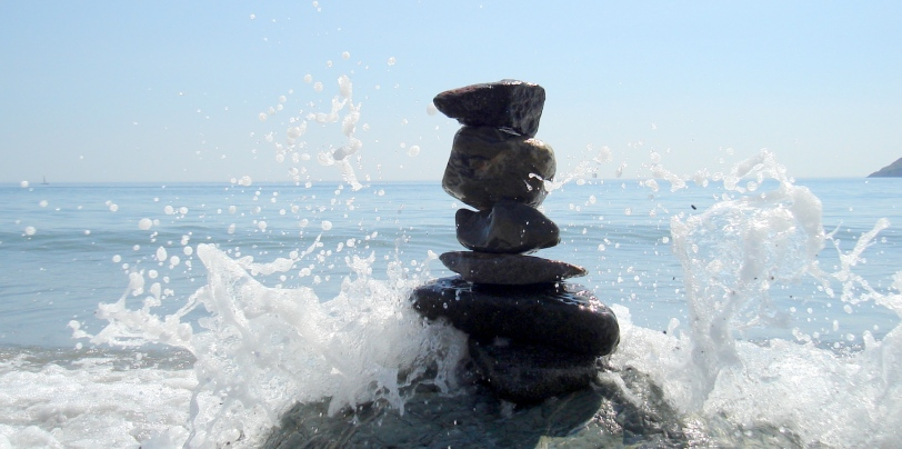Chilling on the beach with my family, stacked up some rocks and waited for some waves...