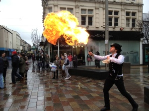 Fire eater in Middlebrough
