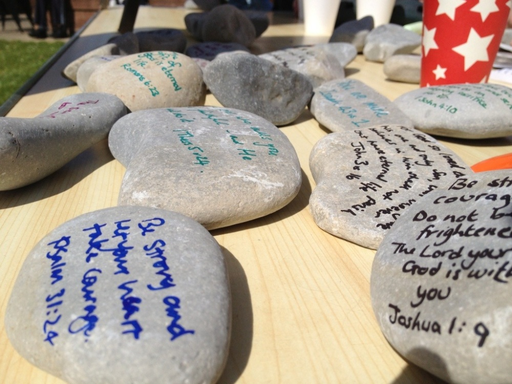 Words and scriptures written for people on stones... the hope was to bring something from God's heart to the hearts of those around us