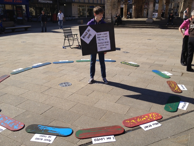 My son helped me with the saints on the street, he invited people to choose a board to stand on
